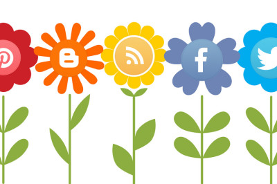 An illustration of flowers with social media icons in the centre