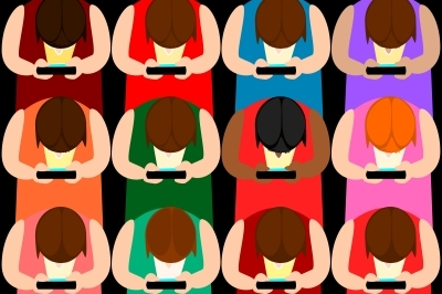 A colourful cartoon showing rows of people with their heads bent down staring at their smart phone